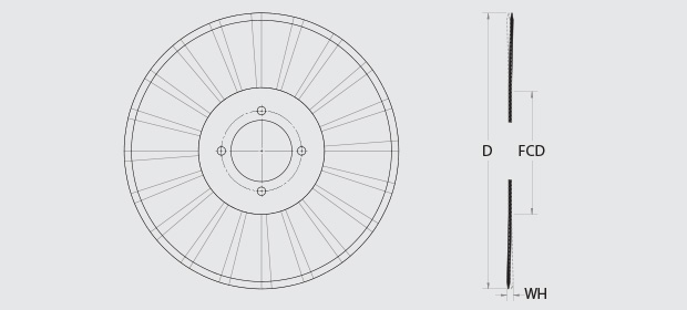 RadialRazor™ - This image depicts the Diameter, Thickness, Concavity, and Edge Type of the blades