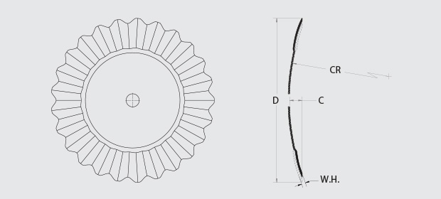 SoilRazor™ CT - This image depicts the Diameter, Thickness, Concavity, and Edge Type of the blades